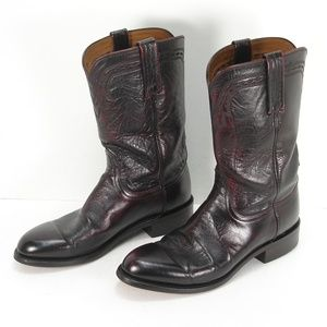 LUCCHESE 2000 T001202 BLACK CHERRY COWBOY BOOT 8 D